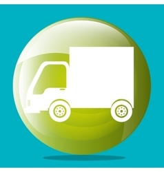 Transport vehicles on round icon vector image