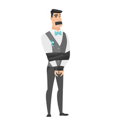 young caucasian groom tied up with rope vector image vector image