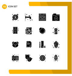 16 thematic solid glyphs and editable symbols of vector