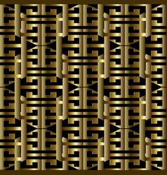 3d gold greek key meanders seamless pattern vector