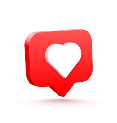 3d heart like social network white background vector image