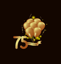 75 year anniversary gold balloon template design vector