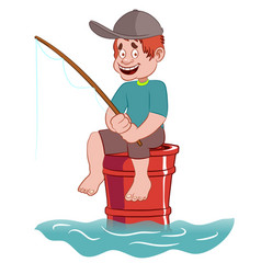 A kid fishing in the sea on a barrel vector