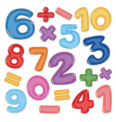 A set of number and math icon vector