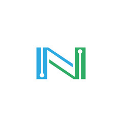 alphabet n technology logo vector image