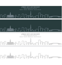 auckland single line skyline banner vector image