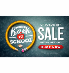 back to school sale design with graphite pencil vector image
