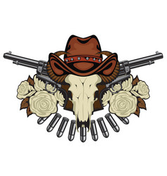 banner with two revolvers skull in hat and roses vector image