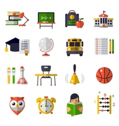 Basic education flat icon set vector
