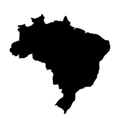 Black silhouette country borders map of brazil on vector