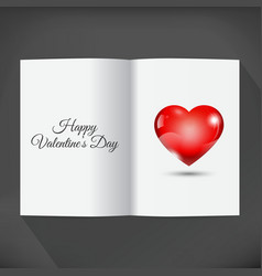 Blank open book for your wishes with heart vector