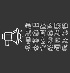 brand icon set outline style vector image