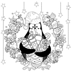 Christmas penguin with gift box entangle doodle vector