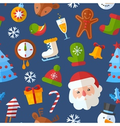 Christmas seamless pattern with flat elements vector image