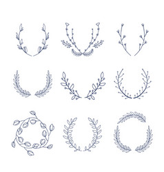 Collection hand drawn floral laurels and vector