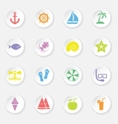 colorful flat icon set 9 circle button vector image