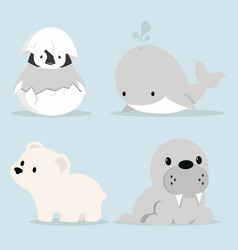 Cute artic animals collection in flat design vector