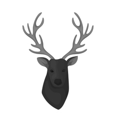 Deer head icon in monochrome style isolated on vector