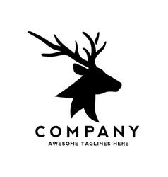 Deer head silhouette monogram logo vector
