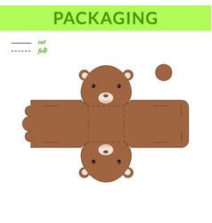 Diy party favor bear box for birthdays baby vector