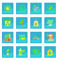 Ecology items icon blue app vector