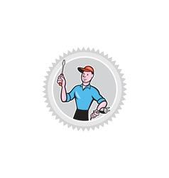 Electrician Screwdriver Plug Rosette Cartoon vector image