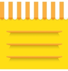 empty shelves on yellow wall vector image