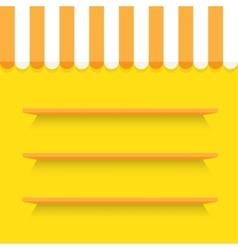 empty shelves on yellow wall vector image vector image