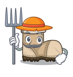 Farmer working boots isolated on the mascot vector