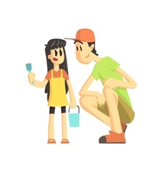Father And Daughter In Sandbox vector
