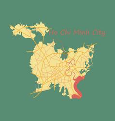 Flat ho chi minh city administrative map vector