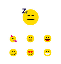 Flat icon gesture set of asleep smile laugh and vector
