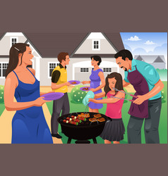 friends gather for bbq party vector image