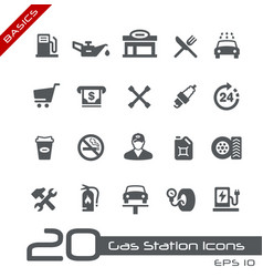 gas station icons - basics vector image