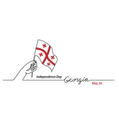 georgia flag with hand independence day vector image