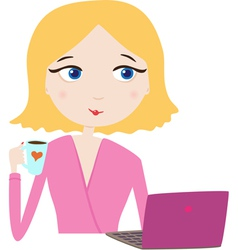 Girl look at laptop vector image
