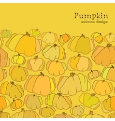 Golden autumn background Border design of pumpkin vector image