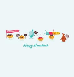 greeting banner for jewish holiday hanukkah vector image