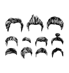 Hair styles set vector