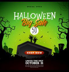 Halloween sale banner with vector