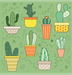 hand drawn cactus plants set vector image