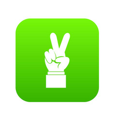hand with victory sign icon digital green vector image