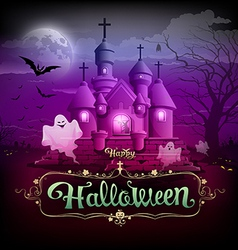 Happy halloween castle ghost on the moon design vector image