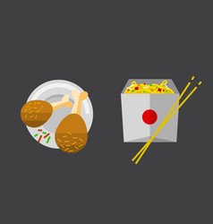 Icon chiken legs fast food vector