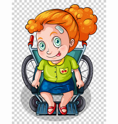 Injured girl on wheelchair vector