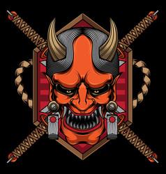 japanese mask logo hannya vector image