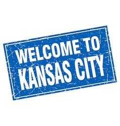 Kansas City blue square grunge welcome to stamp vector