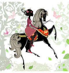 Khokhloma horse girl background vector