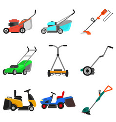Lawnmower icons set flat style vector