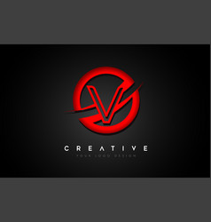 Letter v logo with a red circle swoosh design vector